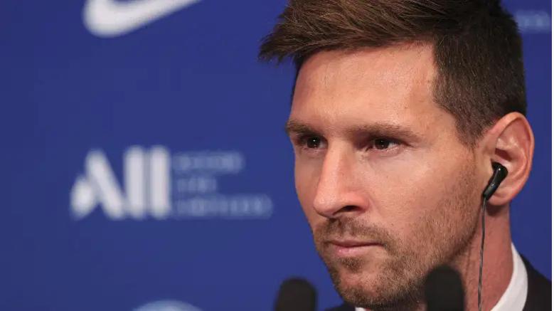 Lionel Messi en su presentación del PSG