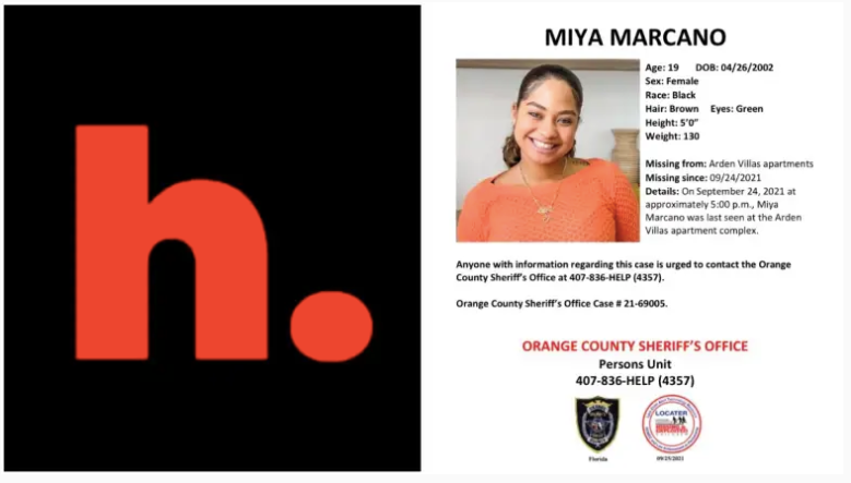 Un cartel de personas desaparecidas de Miya Marcano emitido por la Oficina del Sheriff del Condado de Orange.